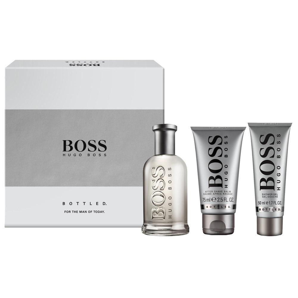 hugo boss bottled gift set with eau de toilette 50 ml after shave balm 75ml shower gel 100. Black Bedroom Furniture Sets. Home Design Ideas
